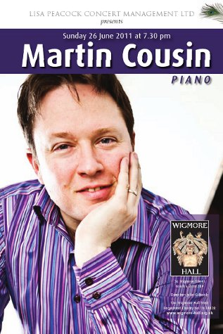 Martin Cousin plays the Wigmore Hall, June 26th